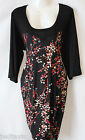 NWT Womens  Floral & Black 3/4 Sleeved Jersey Tunic Top Dress 16