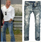 Western Mens Hole Ripped Slim Fit Straight Classic Long Cowboy Jeans Pants 2015