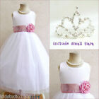 Adorable White/dusty rose flower girl party dress FREE SMALL TIARA all sizes