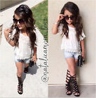 2pcs Kids Baby Girl Outfits Lace Tops T-shirt+Jeans Pants Clothes Set 2-7 Year