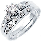 925 Sterling Silver Solitaire Clear CZ Engagement Wedding 2 in 1 Ring Size 3-11