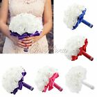 Flower Ribbon Wedding Bride Bridesmaid Flower Girls Foam Roses Bouquet New