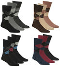 PIERRE ROCHE Mens Argyle Pattern Socks Non Elastic Brown Black Navy Grey Diamond