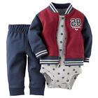 Carter's Boys 3 Piece Burgundy/Navy French Terry Varsity Jacket, Matching Navy P