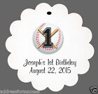 24 Personalized Baseball Themed Birthday Favor Scalloped Tags Party Favors