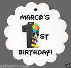 24 Personalized Mickey Mouse Balloon Birthday Favor Scalloped Tags Party Favors