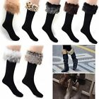 Hot Women Faux Fur Socks Leg Warmer Half Long Stockings Fur Cover Cuff Fit Boots