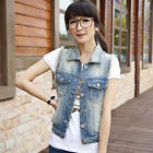 New Hot Woman Sleeveless Ripped Holes Button Casual Jeans Denim Mini Vest Tops