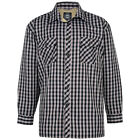 Mens KAM Formal Checked Shirt Fleece Line Long Sleeve Blue White Red Size M 6XL