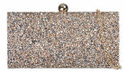 Elegant Shimmer Satin Hard Case Clutch Bag Spike Diamante Evening Party Bag