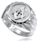 14k Solid White Gold Masonic Men's Ring