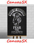 Sons Of Anarchy Large XL Framed Canvas Print Picture SAMCRO Patch Leather Reaper