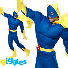 Mens Bananaman Costume Deluxe Muscle Chest Superhero Adult Fancy Dress Outfit