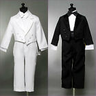 Black White tuxedo with tail for toddler teen boy communion ring bearer recital