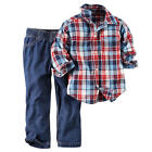 Carter's Boys 2 Piece Navy/Red Plaid Short Sleeve Button Down Shirt & Blue Denim