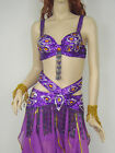 New Belly Dance Costume Outfit Diamond 2 Pics Set of Bra&Belt 32-34A/B/C 3 Color