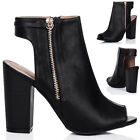 WOMENS OPEN PEEP TOE ZIP BLOCK HEEL ANKLE BOOTS SHOES SZ 3-8