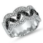 925 Sterling Silver Shiny Round Black Clear CZ Elegant Band Wide Ring Size 3-11