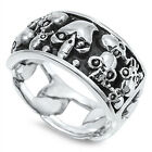 Sterling Silver Inlay Skulls Around Chain Design 11 mm Men's Band Ring Size 7-14