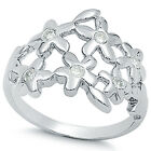 925 Sterling Silver Floral Design Clear CZ Romantic Love Flowers Ring Size 3-11