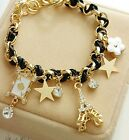 Jewelry Fashion Multielement Gold Chain Leather Rope Crystal Handmade Bracelet