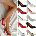 WOMENS LADIES LOW MID KITTEN HEEL SATIN WEDDING BRIDAL PARTY COURT SHOES SIZE