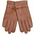 WARMEN Men's NAPPA leather gloves woven Lattices Style w/ Belt and Buckle M025NN