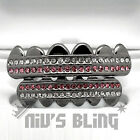 Gunmetal Iced Out GRILLZ Pink Stripe CZ Icy Bling Mouth Teeth Caps HipHop Grills