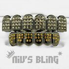 Iced Out Gunmetal GRILLZ Canary CZ Premium Tooth Mouth Teeth Caps Hip Hop Grills
