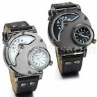 Dual Time Dial Military Army Quartz Analog Leather Band Men's Sport Wrist Watch image