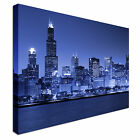 Blue Chicago skyline at night Canvas Prints, Affordable Wall Art - Great Value