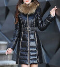 Winter 2015 Thick Womens Fur Collar Zip Down Coat Jacket Slip Fit Outwear Parka