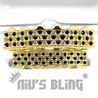 14k Gold Iced out GRILLZ Checkered CZ Bling Tooth Mouth Teeth Cap HipHop Grills
