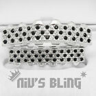 Silver Iced out GRILLZ Checkered CZ Bling Tooth Mouth Teeth Cap HipHop Grills