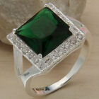 Women's Lady Silver Plated Green Zircon Crystal Rhinestone CZ Finger Ring