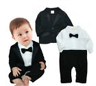 Baby Boys Tuxedo Wedding Romper and Jacket 2-pc Formal Wear Black Suit 0-18M NEW