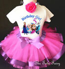 Elsa Anna frozen Pink Lavender Girl 5th Fifth Birthday Tutu Outfit Shirt Set