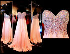 2015 New Women Stone Chiffon Long Prom Dress Party Pageant Formal Evening Gowns