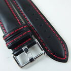 HQ 7MM THICK ITALY LAMBSKIN LEATHER BLACK WATCH BAND 20~24MM RED STITCH STRAP