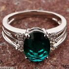 Vintage Style Oval Cut Green & White Stone 925 Silver Ring in 4 sizes M/O/Q/R1/2
