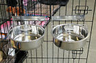 PAIR LARGE STAINLESS 2 STEEL DOG BOWL FOR CAGE CRATE HOOK COOP BOWL,X-LARGE BOWL