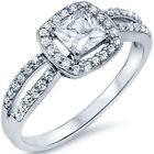 Sterling Silver Solitaire Princess Cut Clear CZ Wedding Promise Ring Size 3-11
