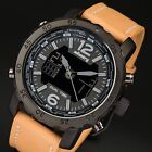INFANTRY Mens LED Digital Quartz Wrist Watch Dual Time Sports Army Brown Leather