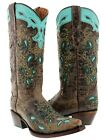 Womens new studded brown turquoise western leather cowboy cowgirl boots snip toe