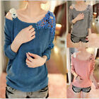 Korean Fashion Street Women Tops Loose Lace Long Sleeve Shirt Casual Blouse New