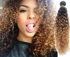 AU New Fashion 1B33#27# Ombre Human Hair Extension 3Tone Curly Wave Hair Wefts