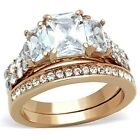 New IP Rose Gold Stainless Steel Wedding Engagement Ring Set Size 5-10