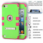 iPod Touch 5th 6th Gen Hybrid Case Shockproof Hard Glass Screen Protector Cover <br/> Premium Tempered Glass for Full Body Impact Protection