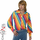 1970s Rainbow Colour Shirt Striped Mens Disco Fancy Dress Costume Outfit