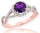Rose Gold Amethyst Birthstone Infinity Ring with Diamonds...